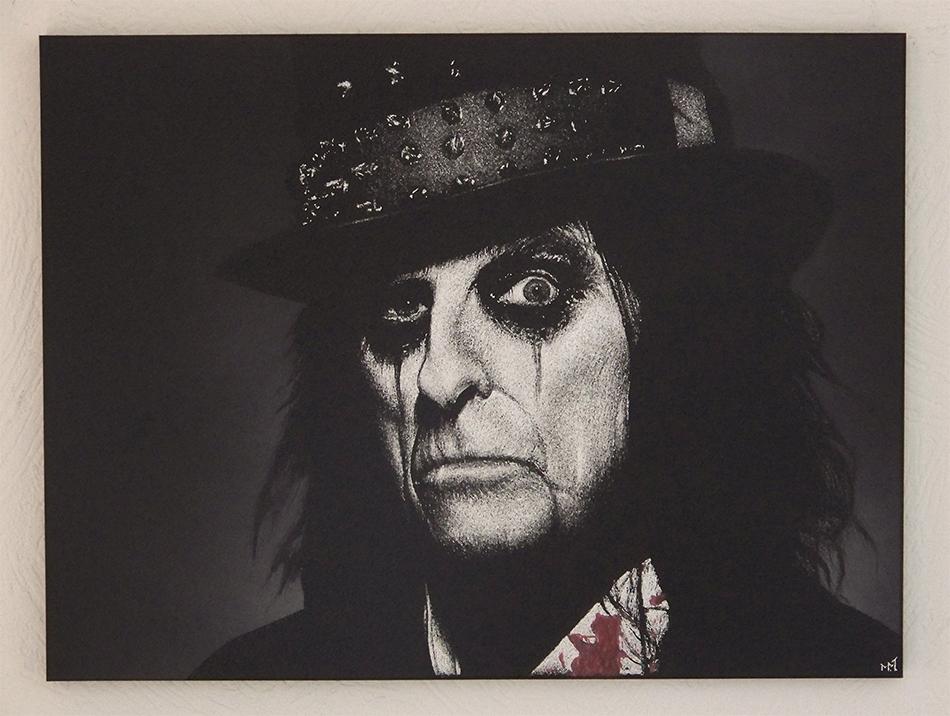 Ręcznie rzeźbiony w blasze obraz Alice Cooper