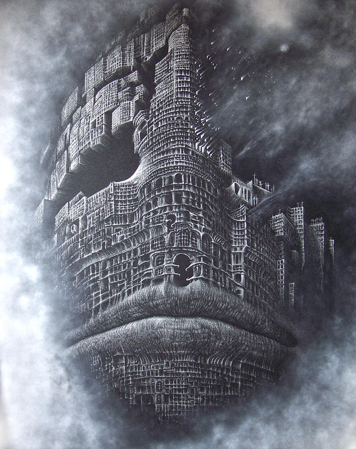 Inspiracja Z.Beksińskim - grawerka